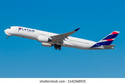 Airbus a350-900 of Latam Airlines at GRU Airport, Guarulhos, Sao Paulo - Brazil, 2018