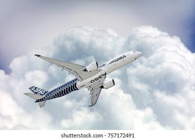 Airbus A350-900 low flyby.The Airbus A350 is the new long-range jet airliner. MAKS-2017 airshow at Zhukovsky - Ramenskoe airport.  JULY 19, 2017. ZHUKOVSKY, MOSCOW REGION, RUSSIA