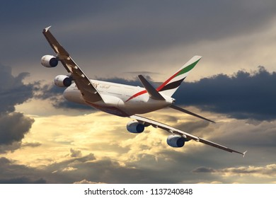 Airbus A380 aircraft July 2018 Cote d'Azur (NCE) Nice France