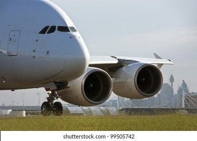 Airbus A380 airliner taxiing on the runway