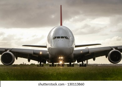 Airbus A380 jet airliner front view close-up