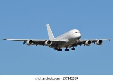 An Airbus A380 landing.