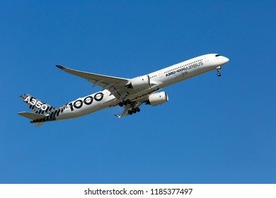 Airbus Plant, Blagnac Airport, Toulouse, France -  09.10.2018. Prototype of modern passenger aircraft Airbus A350-1000 XWB in special «Carbon» livery performs a test flight.