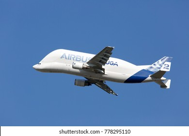 AIRBUS PLANT, BLAGNAC AIRPORT, TOULOUSE, FRANCE - OCTOBER 12, 2017: The freighter aircraft Beluga A300-600ST Super Transporter performs cargo flight.