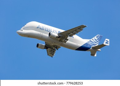 AIRBUS PLANT, BLAGNAC AIRPORT, TOULOUSE, FRANCE - OCTOBER 6, 2017: The freighter aircraft Beluga A300-600ST Super Transporter performs cargo flight.