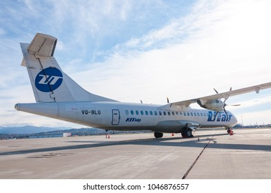 the aircraft of the airline utair ATR 72-500 at the airport of Sochi January 2018