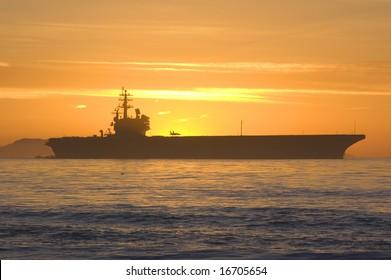 Aircraft Carrier off the California Coast