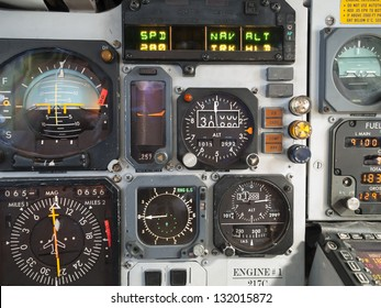 Aircraft cockpit: primary instruments in flight.