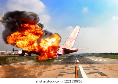 Aircraft crashing with exploding engine on fire