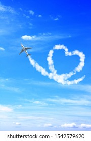 Aircraft draw a heart in the sky. Love concept for traveling the world