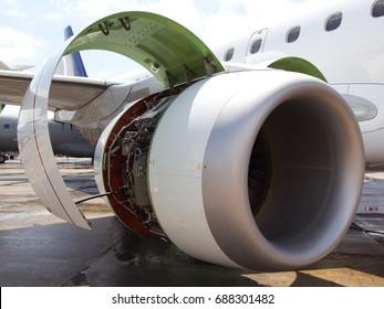 Aircraft engine maintenance and repair. Engine nacelle. Air intake close-up.