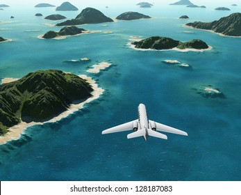 aircraft flies over a sea