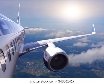 aircraft in flight on a background of blue sky and clouds