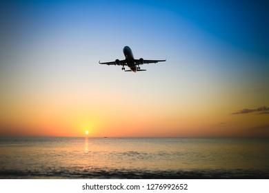 Aircraft is flying, Mai Khao Beach, Phuket, Thailand