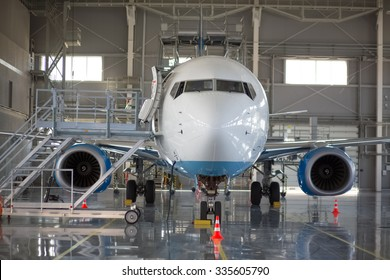 the aircraft in the hangar