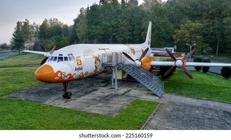 Aircraft Ilyushin Il-18, modified to the restaurant. Near the town of Mlad? Boleslav. 19. October 2014. Czech republic