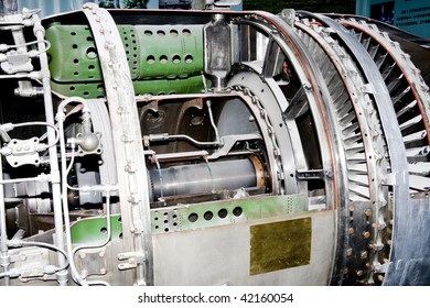 a aircraft jet engine detail in the exposition