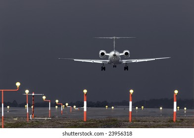 Aircraft landing during a violent rain storm.