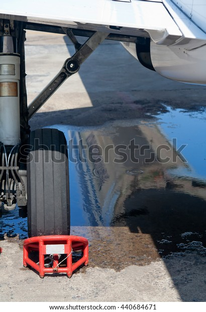 Aircraft landing gear in the parking lot