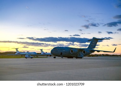 "Aircraft McDonnell Douglas C-17A Globemaster III arrived to participate in military exercises ""Clear Sky-2018"". Airfield near Kyiv, Ukraine.  04-10-2018"