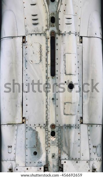 Стоковая фотография «Aircraft Metal Surface Aluminum Rivets