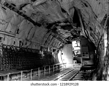 Aircraft, military transport aircraft.helicopter cargo compartment, inside.