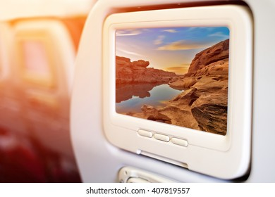 Aircraft monitor in front of passenger seat showing Samphanboke Ubonratchatani Grand Canyon in Thailand, 3000 Boke