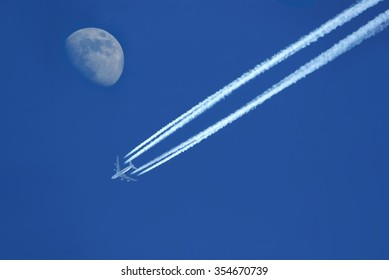 aircraft with moon