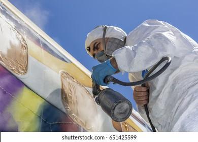 Aircraft painting and sandblasting