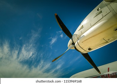 aircraft propeller blade and turboprop engines with blue sky background and copy space