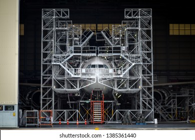 Aircraft in Maintenance Hanger Images, Stock Photos