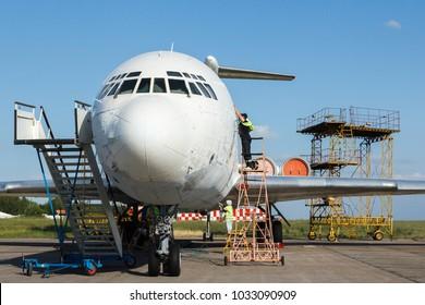 aircraft repair at the airport
