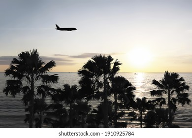 Aircraft silhouette aerial view show groups of silhouette palm trees on the island with freshness summer sunrise on morning sky and beautiful panorama view of the ocean.