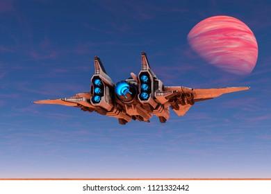 aircraft space ship exploring around 3d illustration