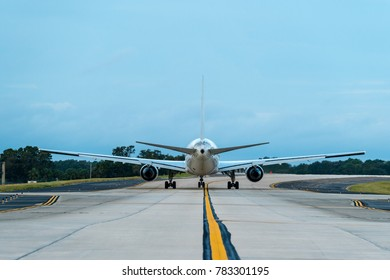 Aircraft taxiing for takeoff.