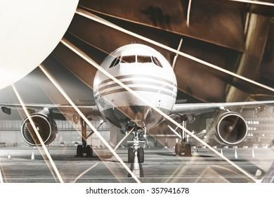 Aircraft, turbine detail, double exposure