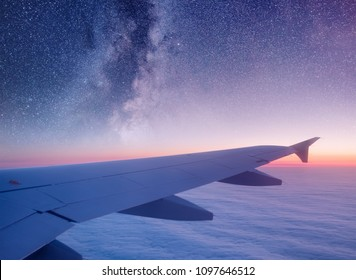Aircraft wind on the night sky background. Composition of aircraft
