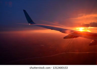 aircraft wing, beautiful sunset