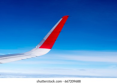 Aircraft Wing with blue sky