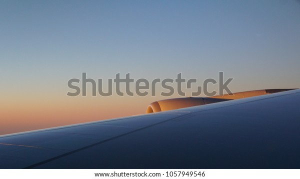 Aircraft wing early morning