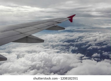 Aircraft wing, Flying above the clounds in the sky