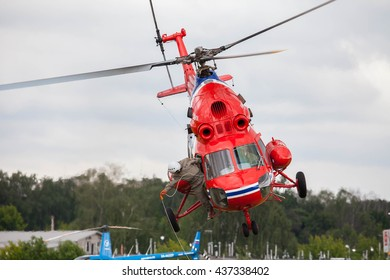 "Airfield ""Black"", MOSCOW REGION, RUSSIA - JUNE 11, 2016: The championship of Russia on helicopter sports. Helicopter Mi-2"