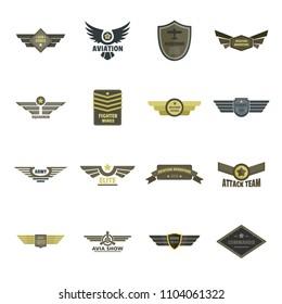 Airforce navy military logo icons set. Flat illustration of 16 airforce navy military logo icons for web