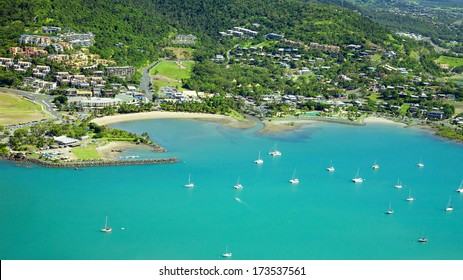 Airlie Beach aerial landscape in the beautiful Whitsundays Australia