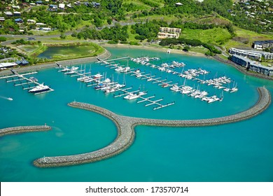 Airlie Beach aerial landscape in the Whitsundays