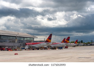 Airline Avianca planes parked at the boarding gate at the El Dorado Airport in the capital of Colombia. Bogotá Colombia.3 June 2018