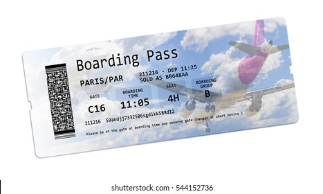 Airline boarding pass tickets isolated on white with space for text insertion - The contents of the image are totally invented and does not contain under copyright parts.