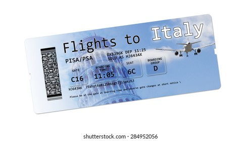 "Airline boarding pass tickets to ""Italy"" isolated on white.  The contents of the image are totally invented."
