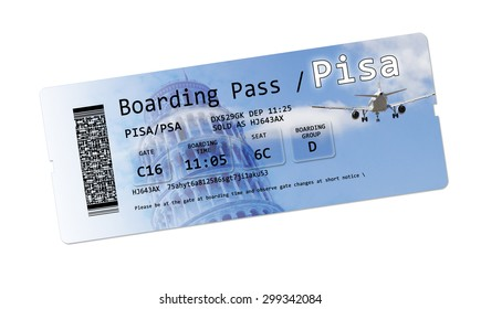 """Airline boarding pass tickets to """"Pisa"""" isolated on white.  In background the famous medieval """"leaning tower"""" city landmark and symbol of Italy"""