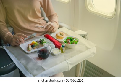 Airline meal inside airplane